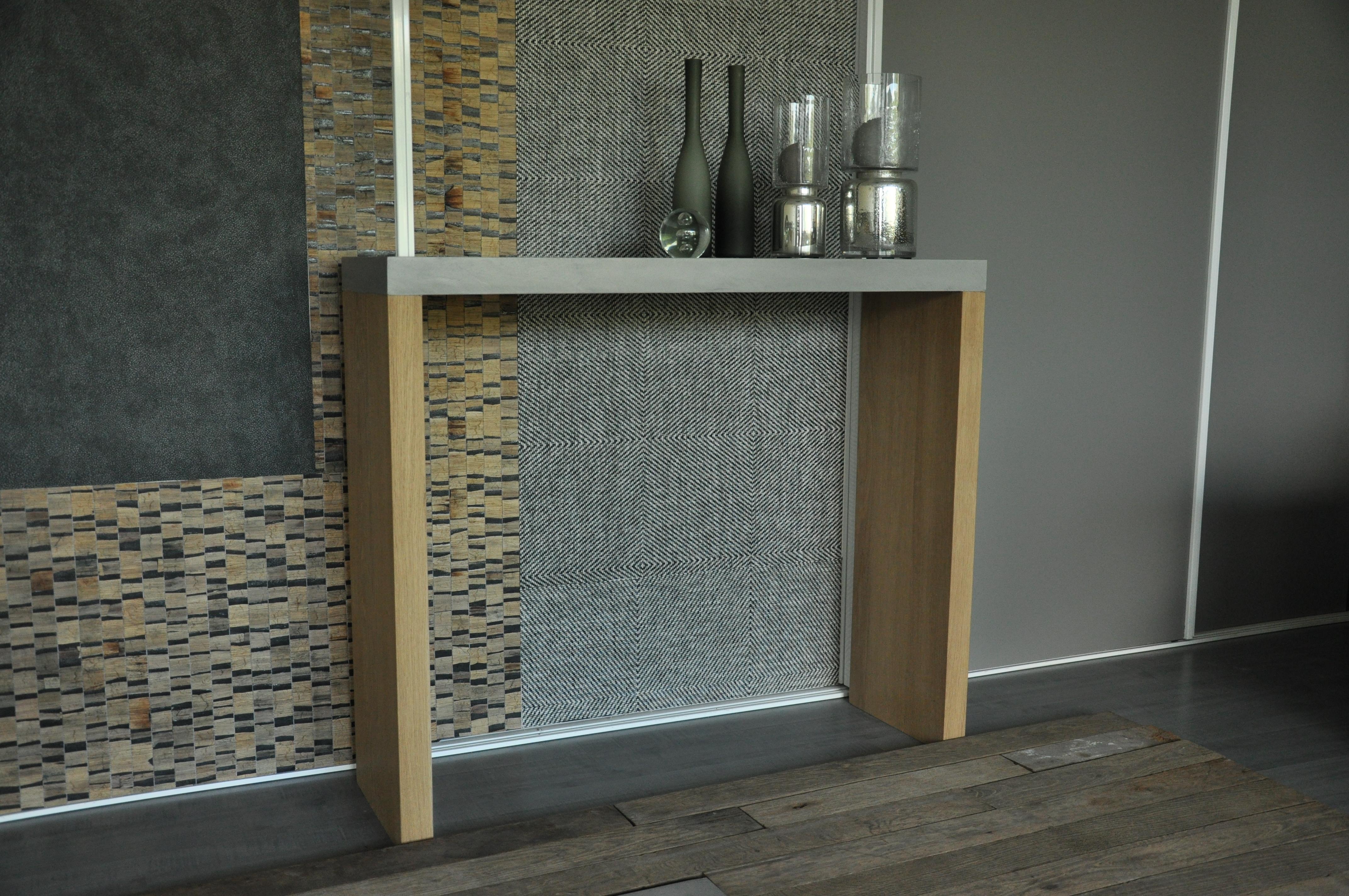 consoles avec plateaux en b ton cir pi tement acier bois atelier b. Black Bedroom Furniture Sets. Home Design Ideas